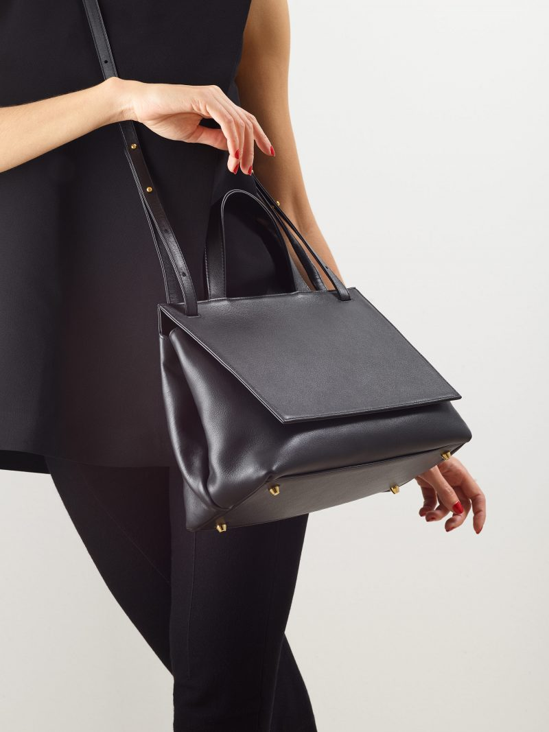 ADA shoulder bag in black calfskin leather | TSATSAS