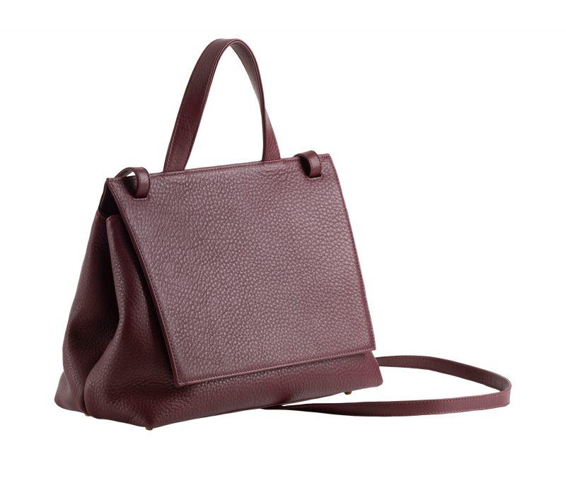 ADA shoulder bag in burgundy calfskin leather | TSATSAS