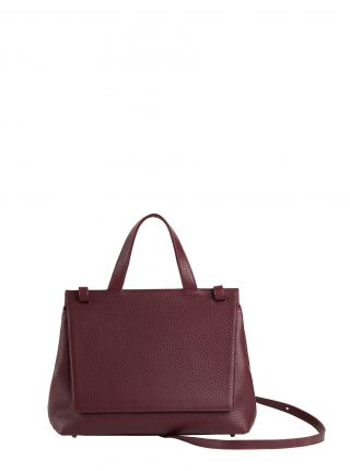 ADA shoulder bag in burgundy calfskin leather | TSATSAS