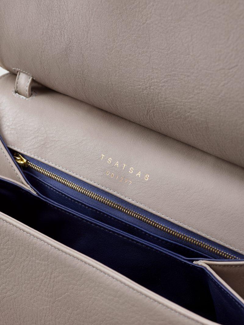 ADA shoulder bag in grey calfskin leather | TSATSAS