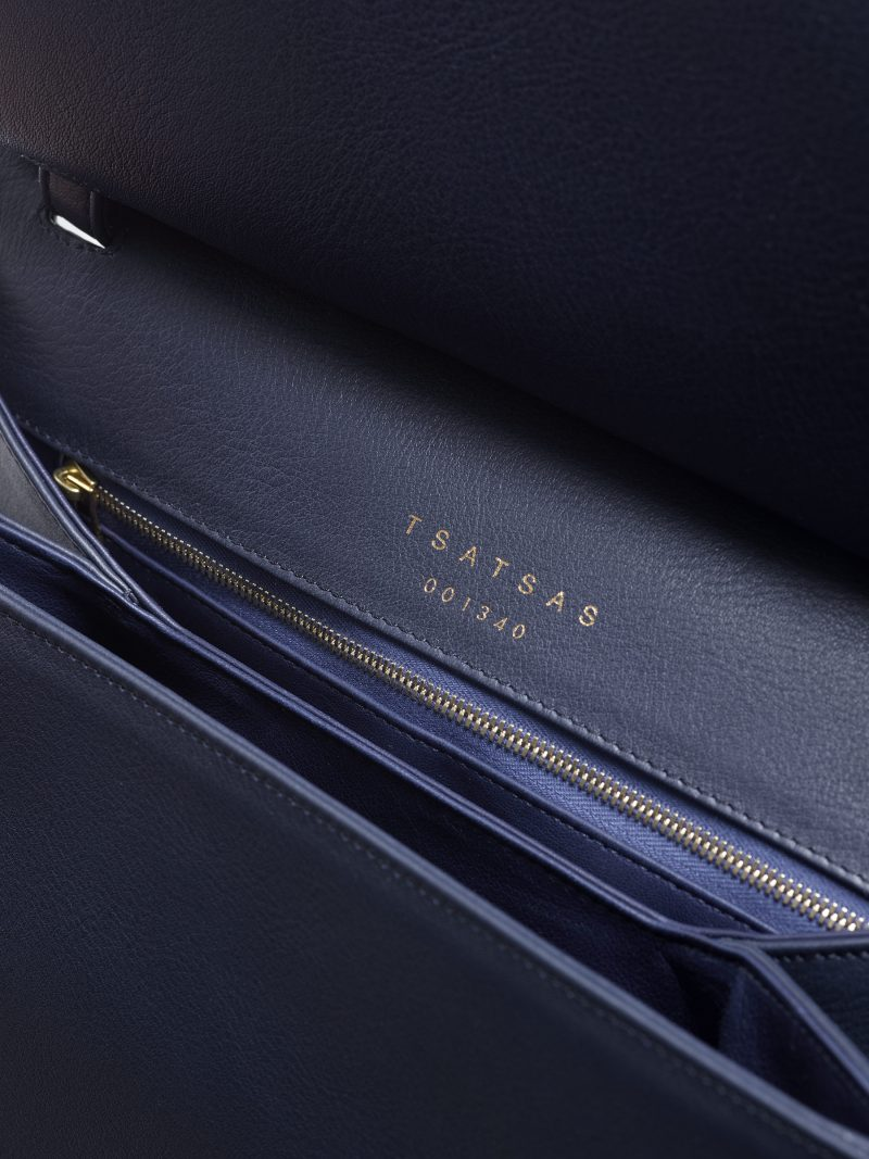 ADA shoulder bag in navy blue calfskin leather | TSATSAS