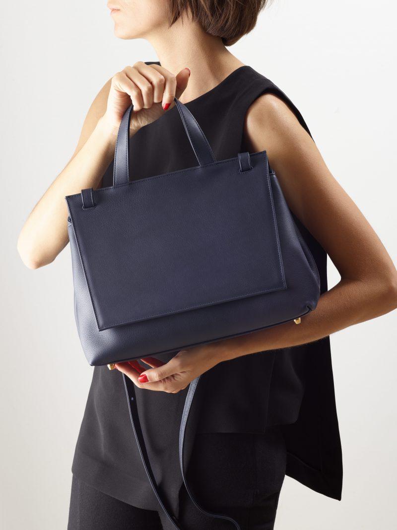 ADA shoulder bag in navy blue calfskin leather   TSATSAS