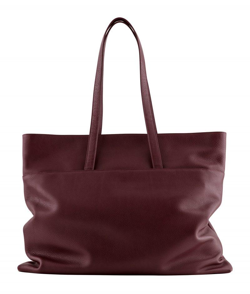 ATLAS shoulder bag in burgundy calfskin leather | TSATSAS