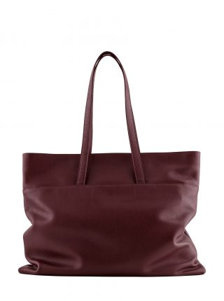 ATLAS shoulder bag in burgundy calfskin leather | TSATSAS