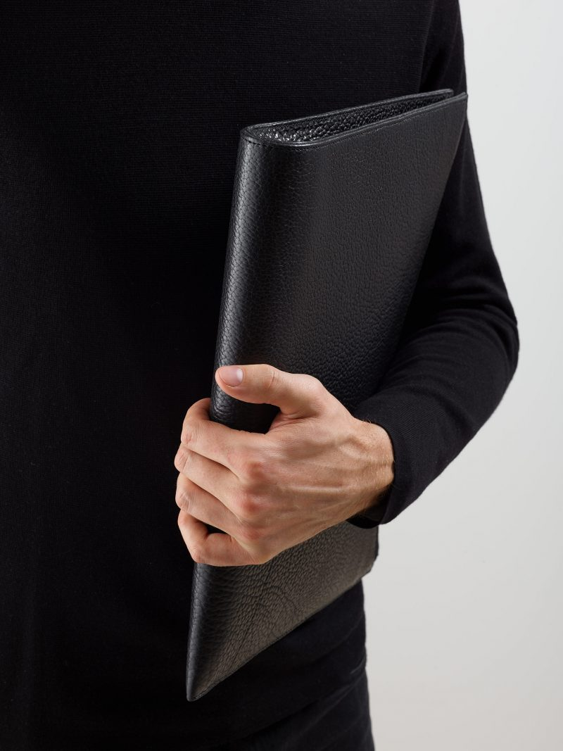 BIKO portfolio in black bison leather | TSATSAS