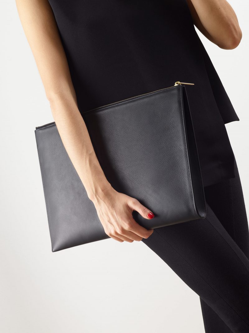 BIKO portfolio in black calfskin leather | TSATSAS