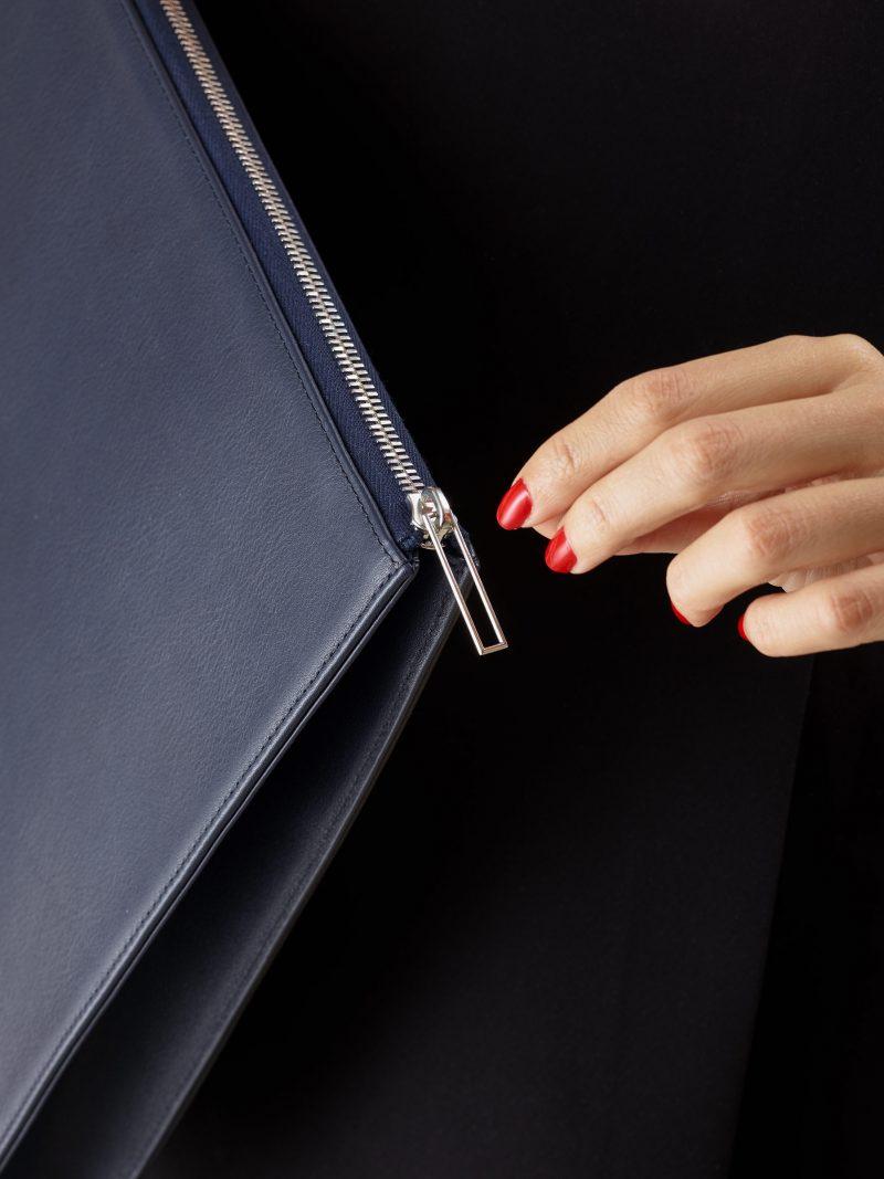 BIKO portfolio in navy blue calfskin leather   TSATSAS