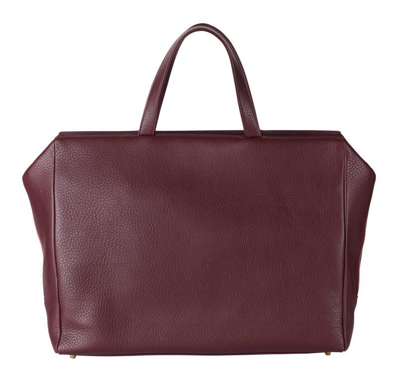 COEN tote bag in burgundy calfskin leather | TSATSAS