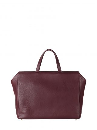 COEN tote bag in burgundy calfskin leather | TSATSAS