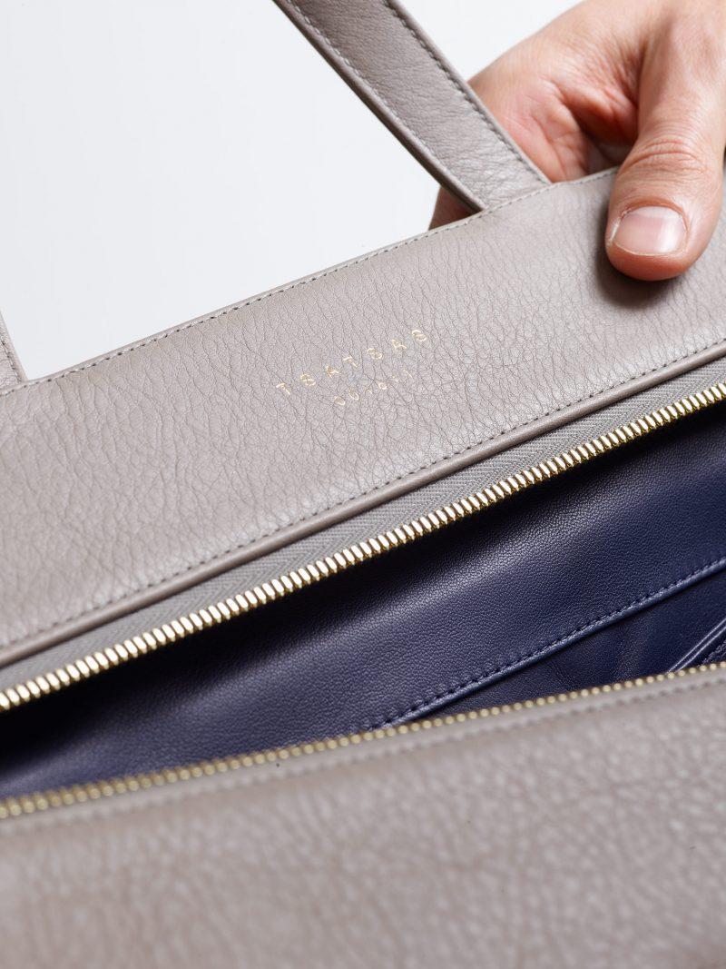 COEN tote bag in grey calfskin leather | TSATSAS