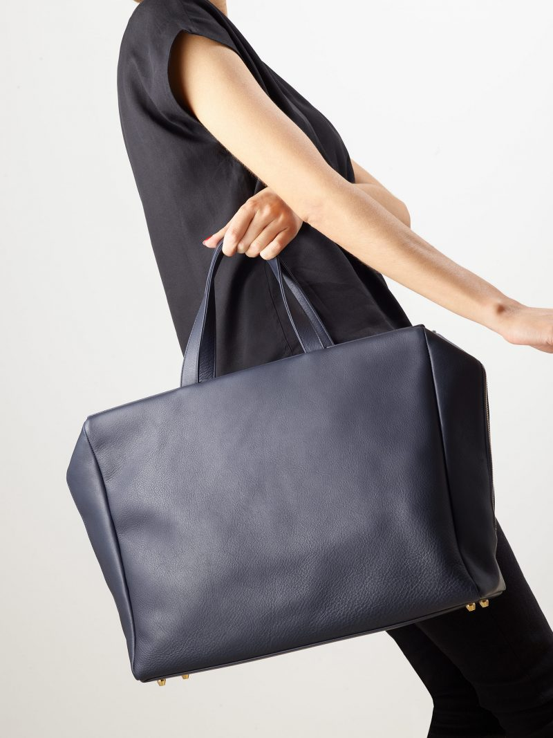 COEN tote bag in navy blue calfskin leather | TSATSAS