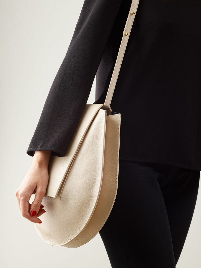 CY shoulder bag in ivory calfskin leather | TSATSAS