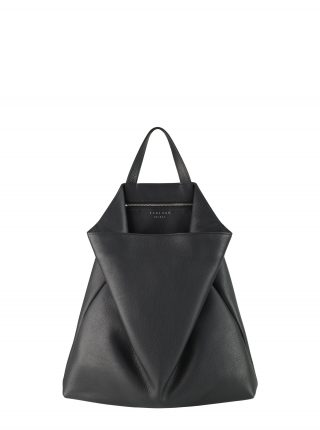 FLUKE tote bag in black calfskin leather | TSATSAS
