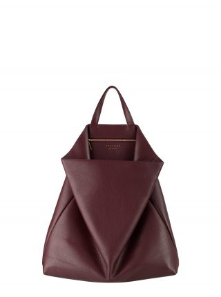 FLUKE tote bag in burgundy calfskin leather | TSATSAS
