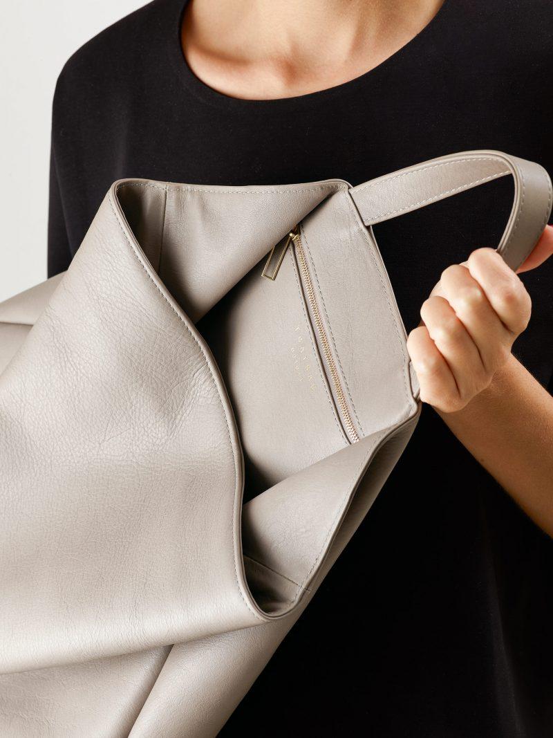 FLUKE tote bag in grey calfskin leather | TSATSAS