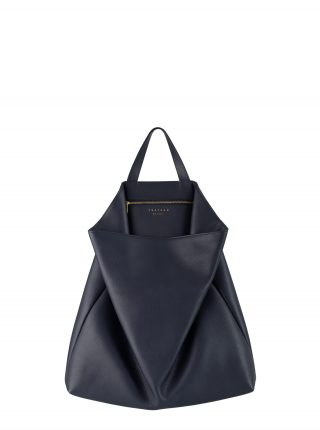 FLUKE tote bag in navy blue calfskin leather | TSATSAS
