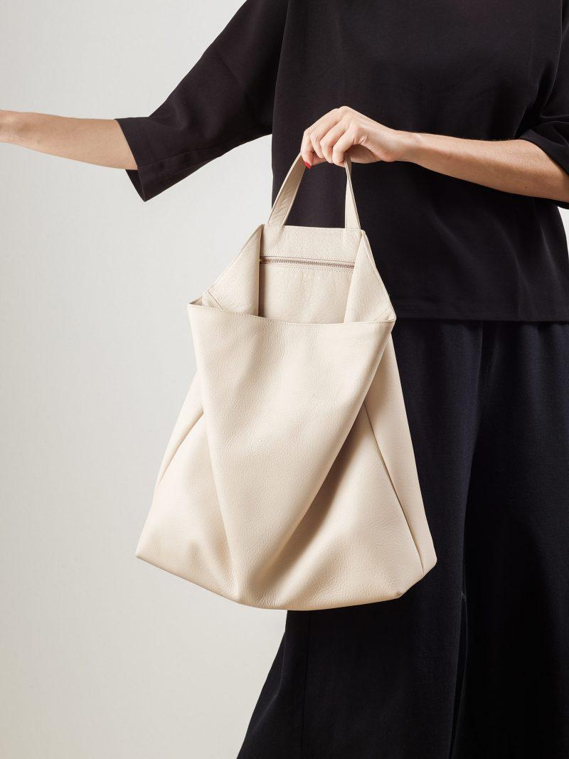 FLUKE tote bag in ivory calfskin leather   TSATSAS