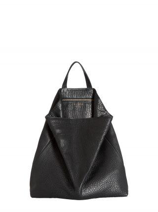 FLUKE tote bag in black shrunken lamb nappa leather | TSATSAS
