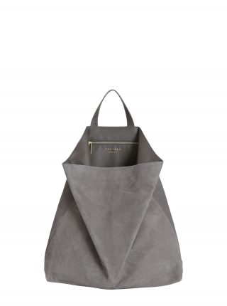 FLUKE tote bag in grey goat suede leather | TSATSAS