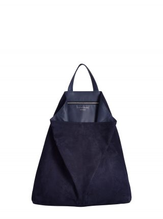 FLUKE tote bag in navy blue goat suede leather | TSATSAS