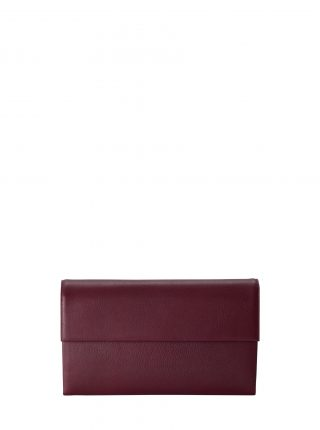 HAZE clutch bag in burgundy calfskin leather | TSATSAS