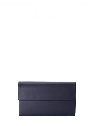 HAZE clutch bag in navy blue calfskin leather | TSATSAS