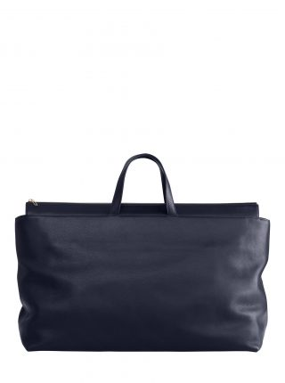 KHAMSIN weekender in navy blue calfskin leather | TSATSAS