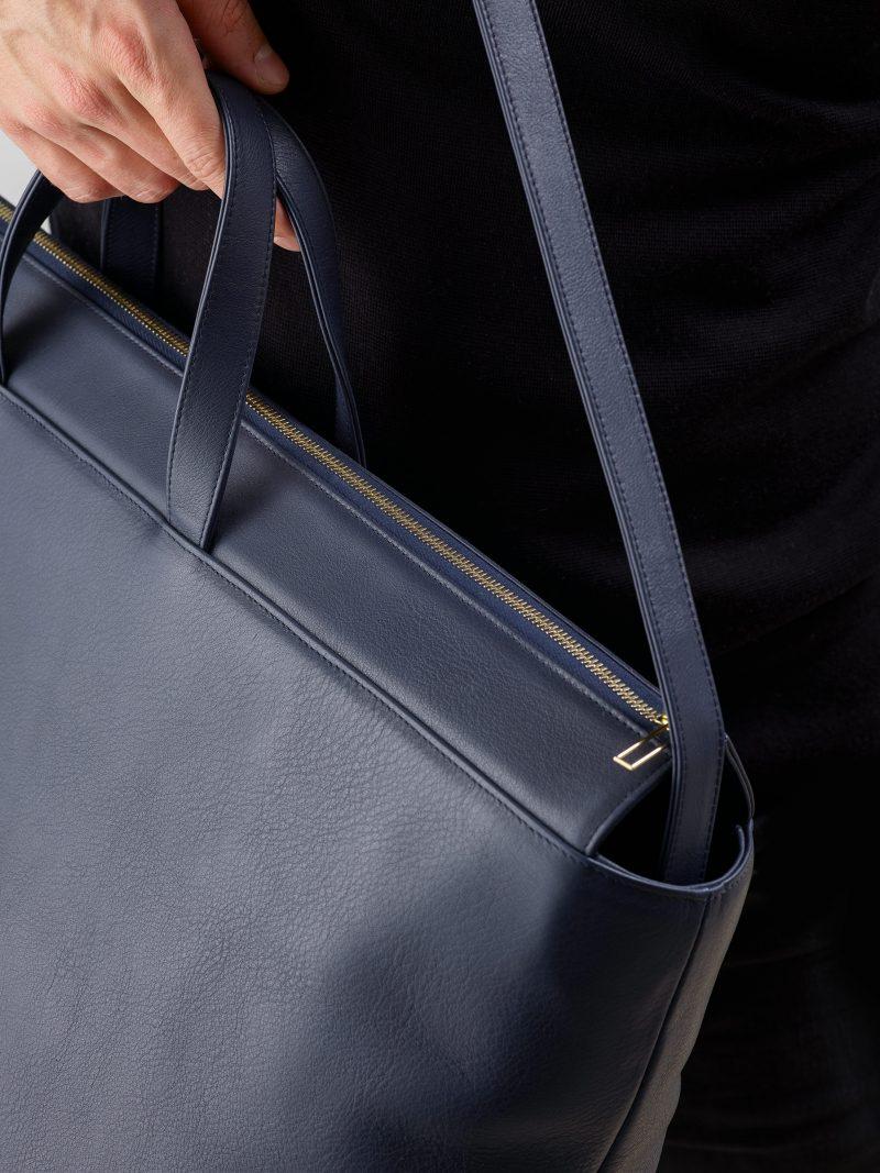 KHAMSIN weekender in navy blue calfskin leather | TSATSAS