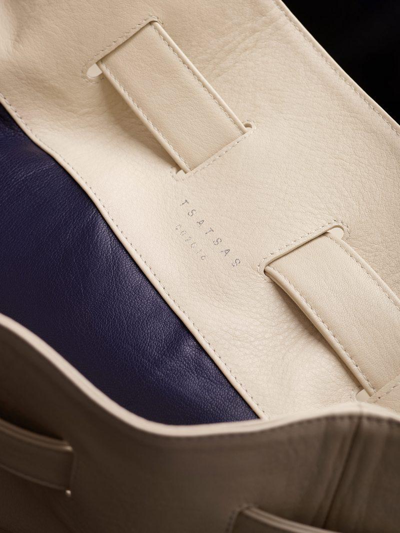 KILO seaman's bag in ivory calfskin leather | TSATSAS