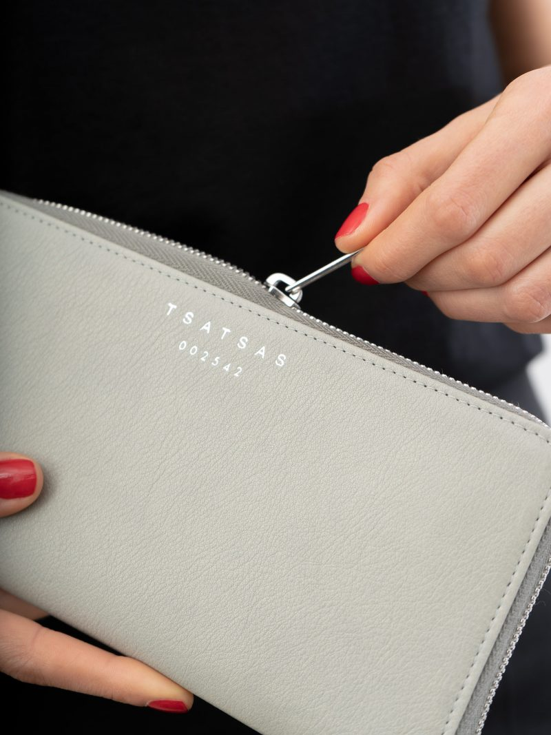 KOBO 2 wallet in concrete grey calfskin leather | TSATSAS