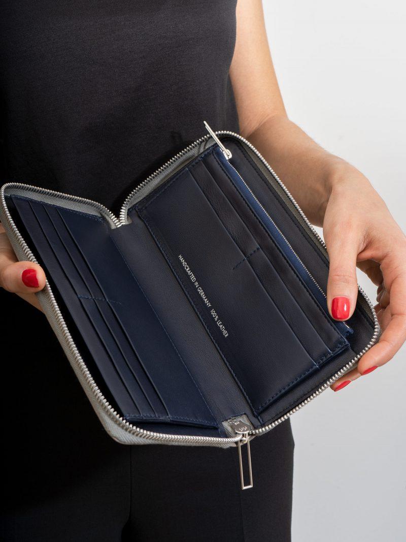 KOBO 2 wallet in grey calfskin leather   TSATSAS
