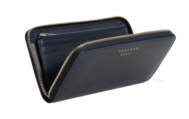 KOBO 2 wallet in navy blue calfskin leather   TSATSAS