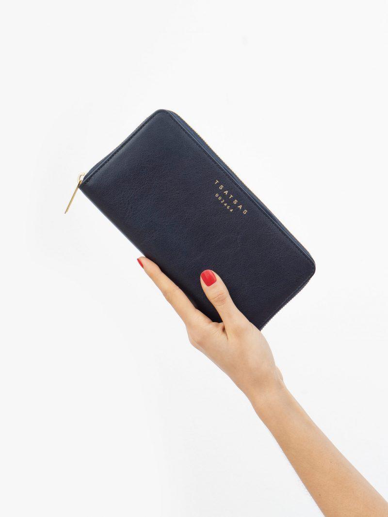 KOBO 2 wallet in navy blue calfskin leather | TSATSAS