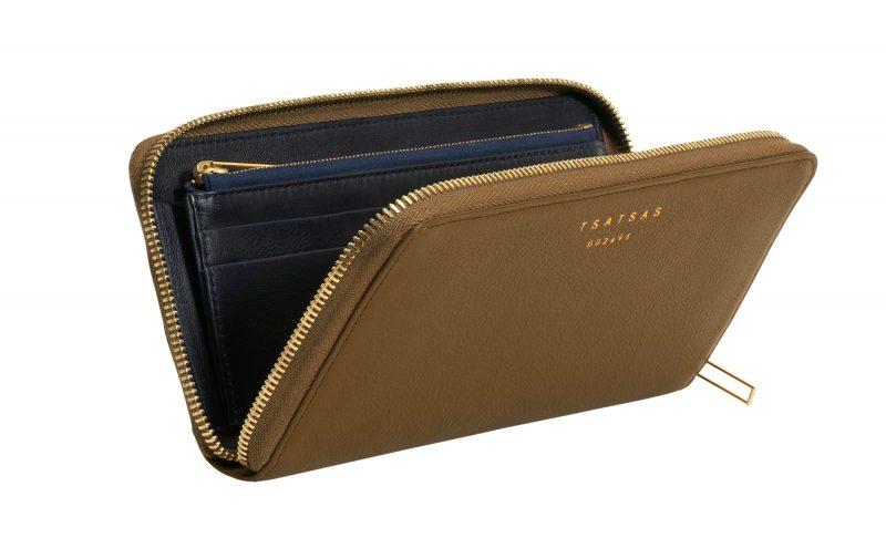 KOBO 2 wallet in olive brown calfskin leather | TSATSAS