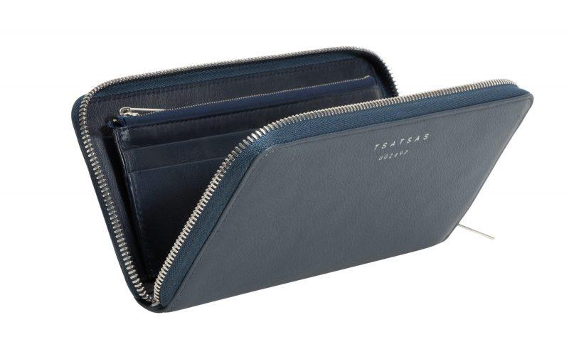 KOBO 2 wallet in slate blue calfskin leather | TSATSAS