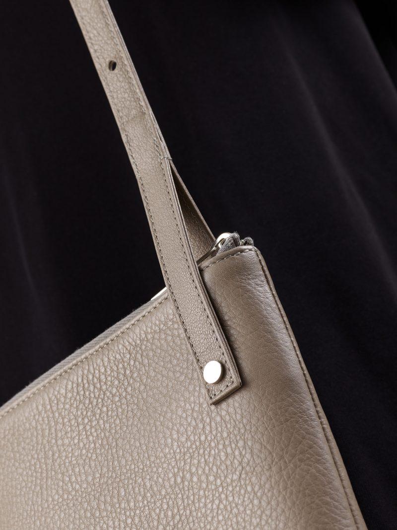 KRAMER 1 shoulder bag in grey calfskin leather | TSATSAS