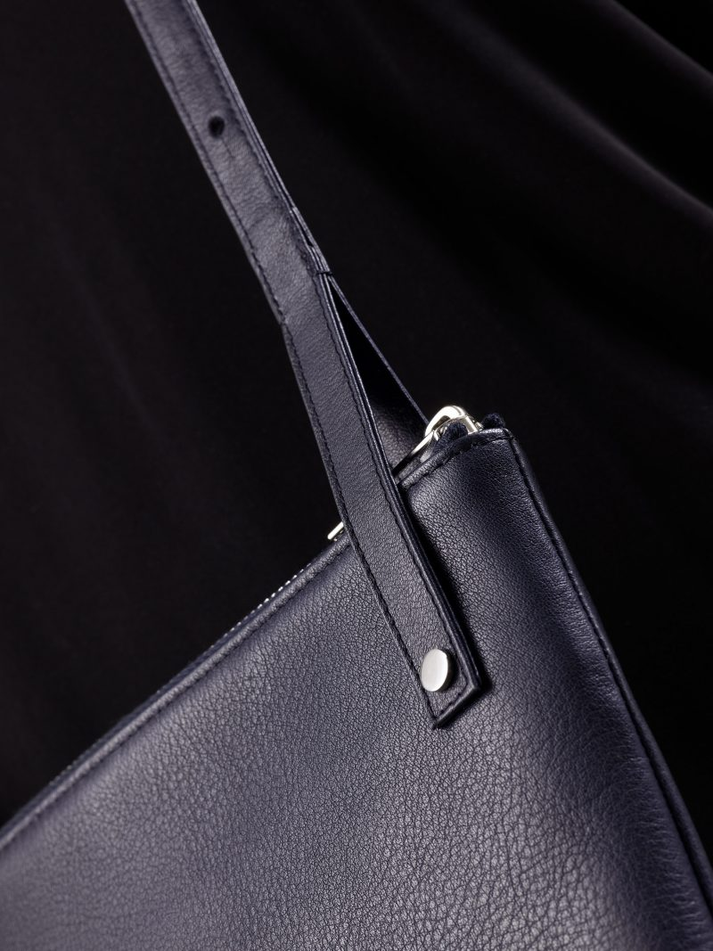 KRAMER 1 shoulder bag in navy blue calfskin leather | TSATSAS