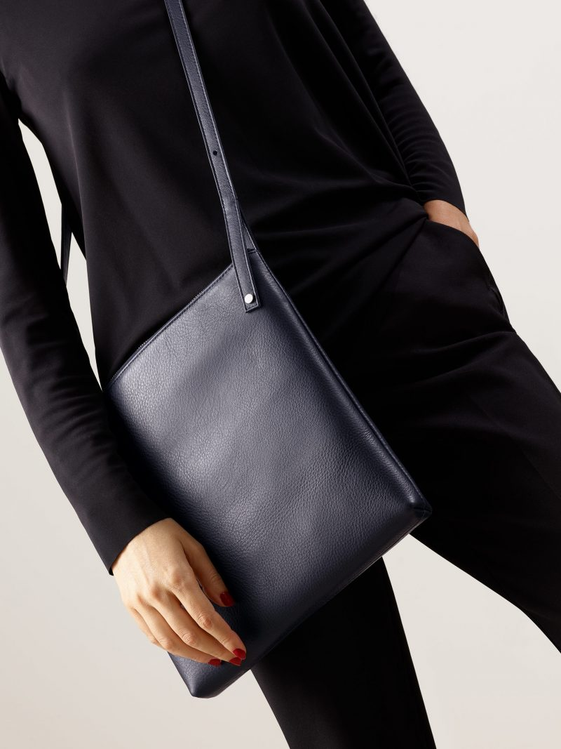 KRAMER 2 shoulder bag in navy blue calfskin leather | TSATSAS