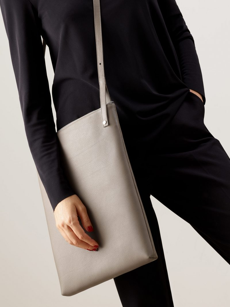 KRAMER 3 shoulder bag in grey calfskin leather | TSATSAS