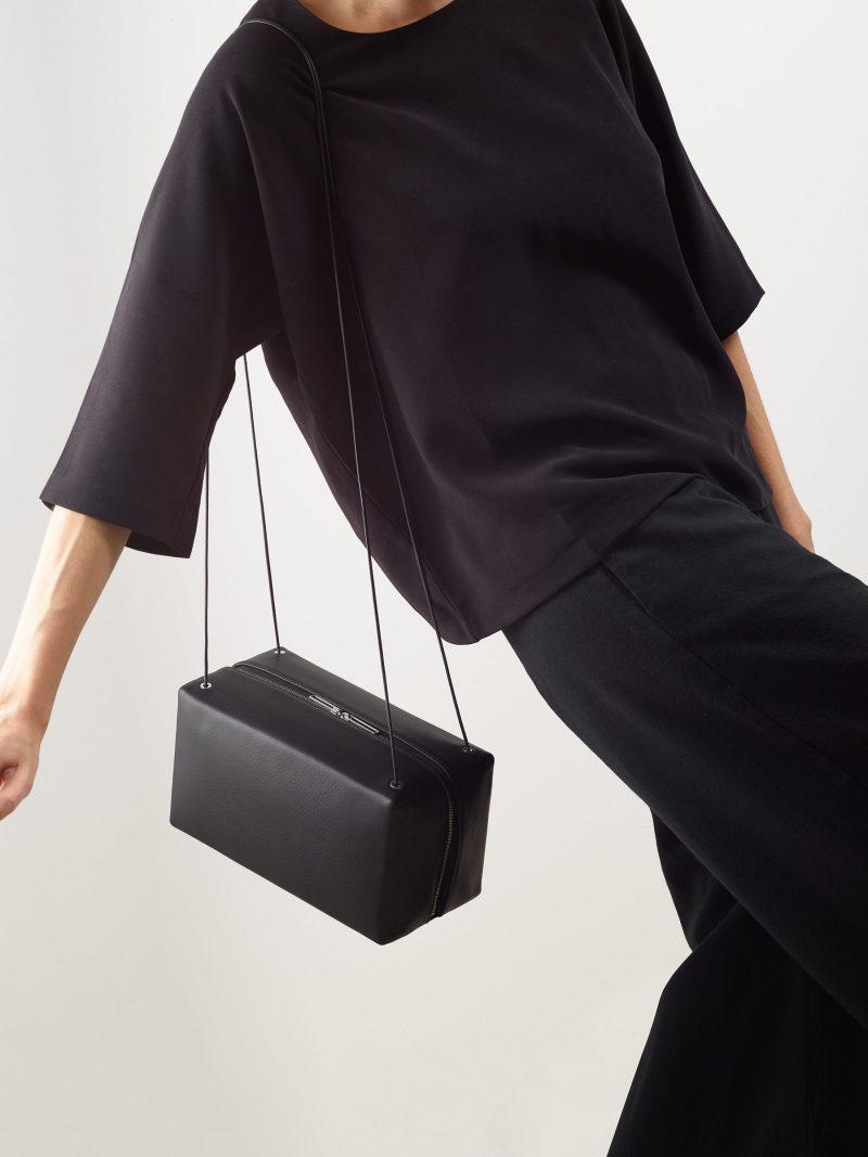 LINDEN shoulder bag in black calfskin leather   TSATSAS