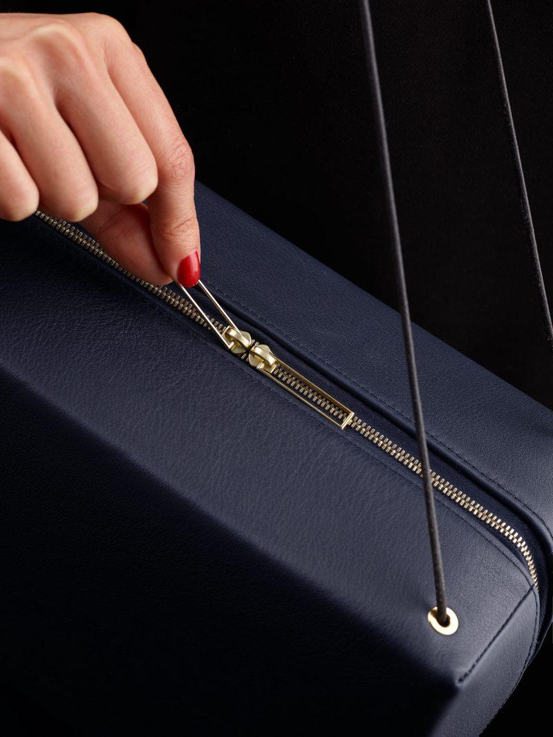 LINDEN shoulder bag in navy blue calfskin leather | TSATSAS