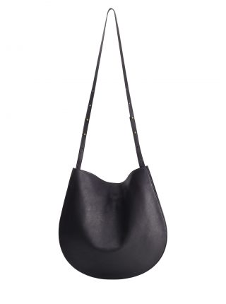 CALE shoulder bag in black calfskin leather | TSATSAS