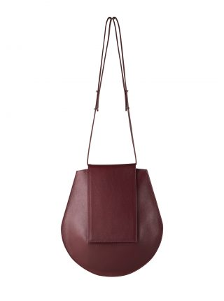 CY shoulder bag in burgundy calfskin leather | TSATSAS