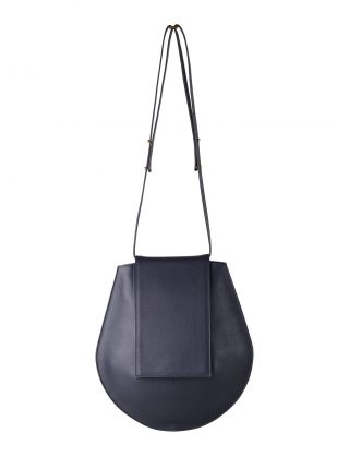 CY shoulder bag in navy blue calfskin leather | TSATSAS