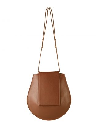 CY shoulder bag in tan calfskin leather | TSATSAS