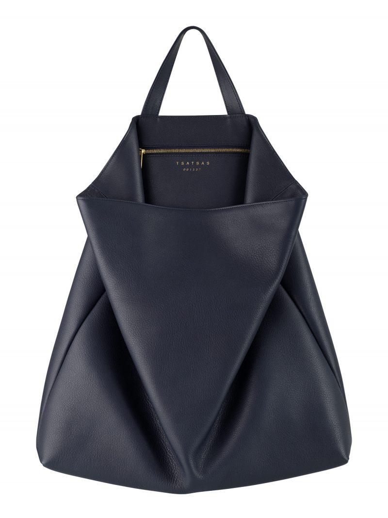 FLUKE tote bag in navy blue calfskin leather | TSATSAS