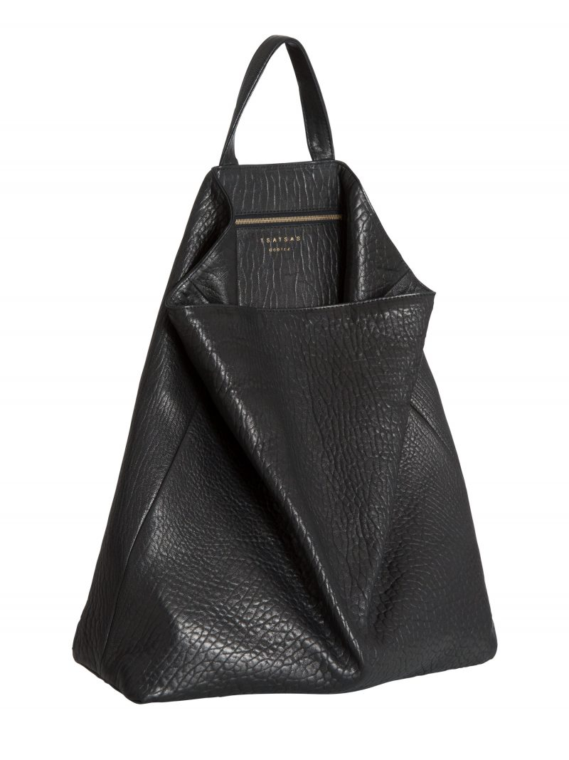 FLUKE tote bag in black shrunken lamb nappa leather | TSATSAS