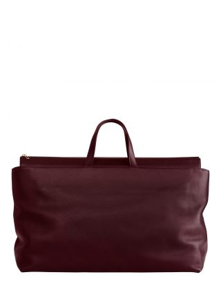 KHAMSIN weekender in burgundy calfskin leather | TSATSAS