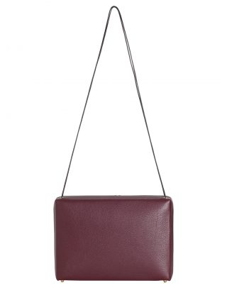 LINDEN 43 shoulder bag in burgundy calfskin leather | TSATSAS