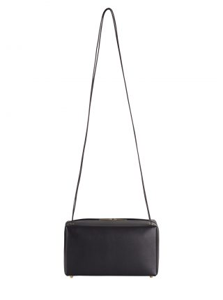 LINDEN shoulder bag in black calfskin leather | TSATSAS